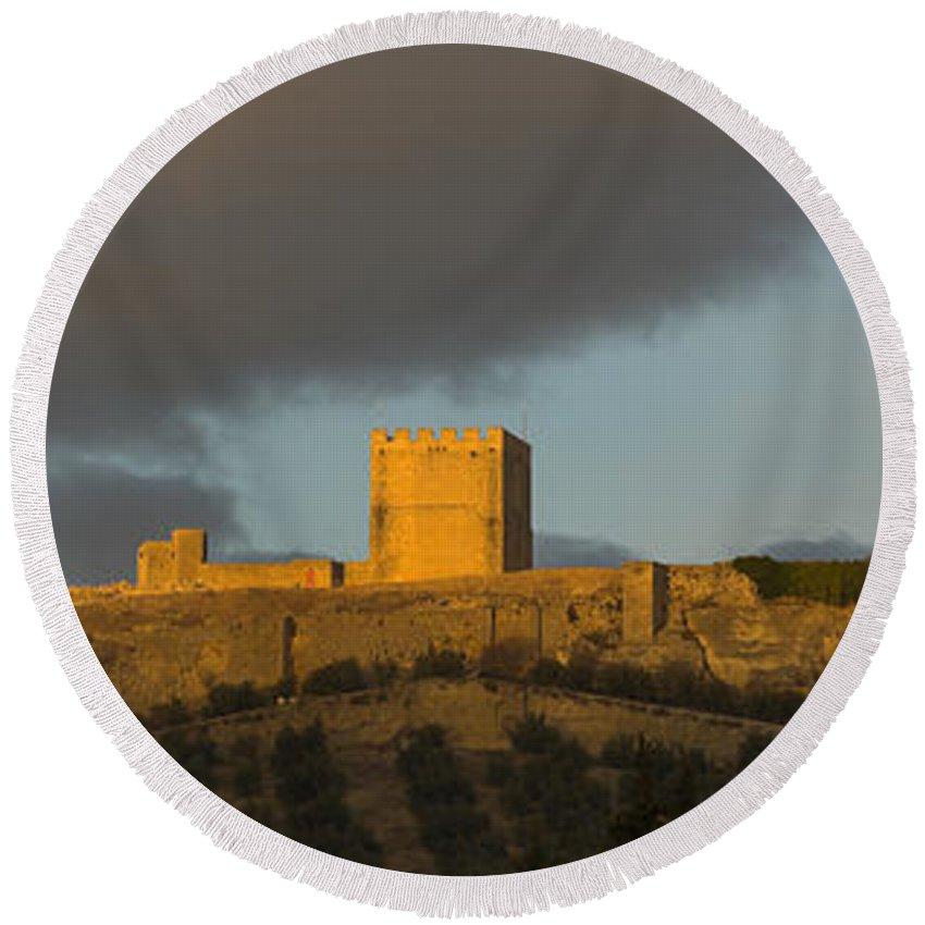 Castle Round Beach Towel featuring the photograph Castillo De La Mota by Guido Montanes Castillo