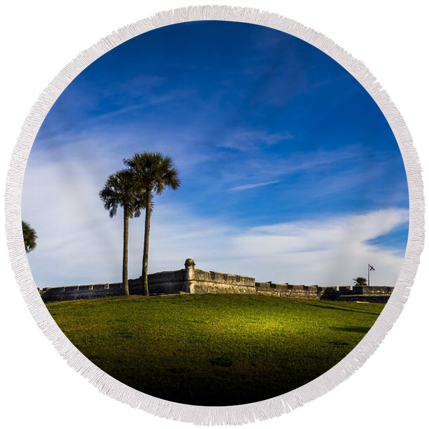 Fort Round Beach Towel featuring the photograph Castillo De San Marcos by Marvin Spates