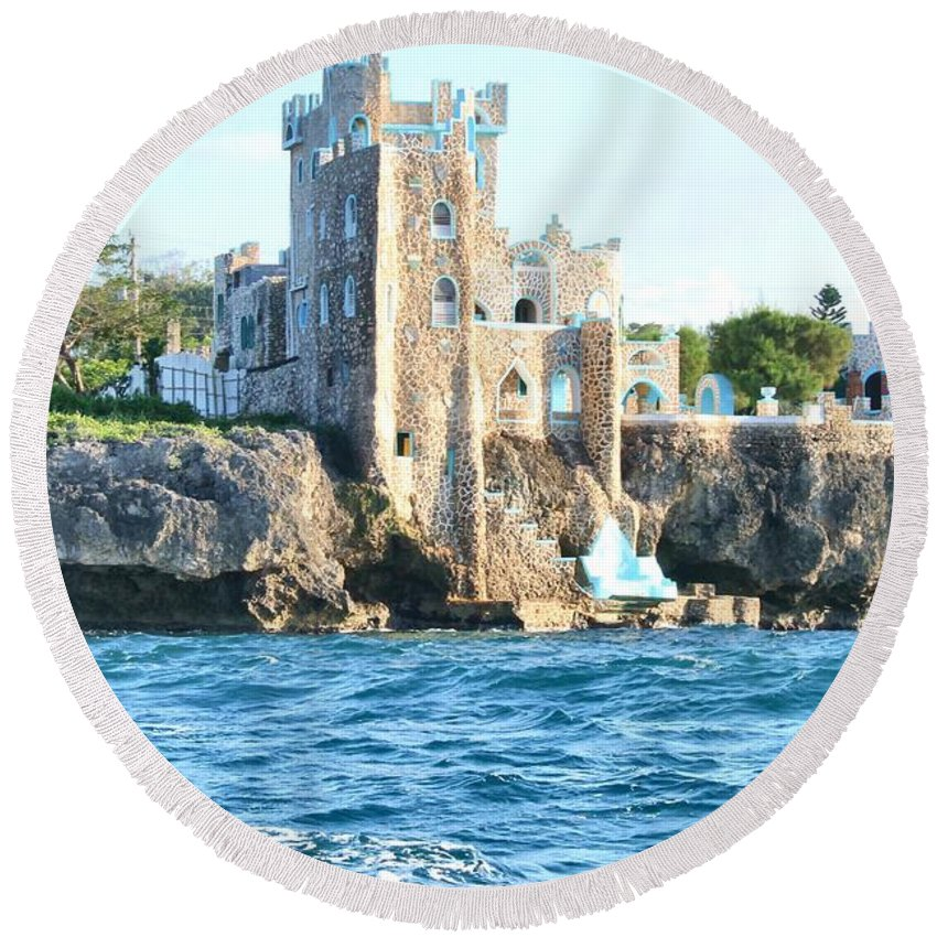 Castle Round Beach Towel featuring the photograph Castle At Sea by Debbie Levene