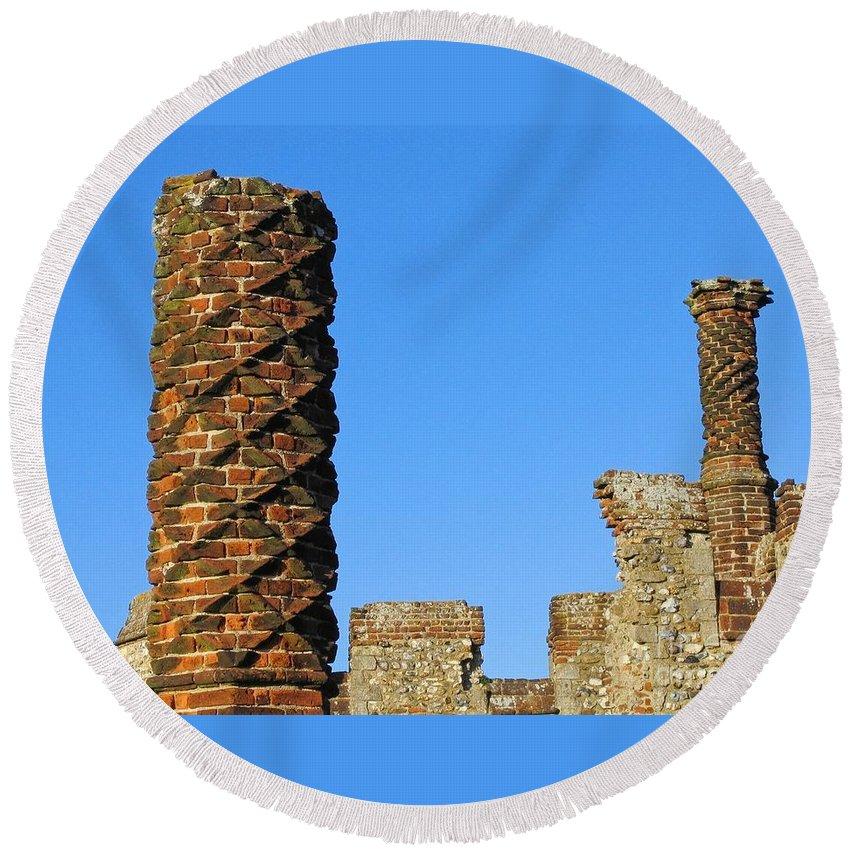 Castle Round Beach Towel featuring the photograph Castle Brickwork by Ann Horn