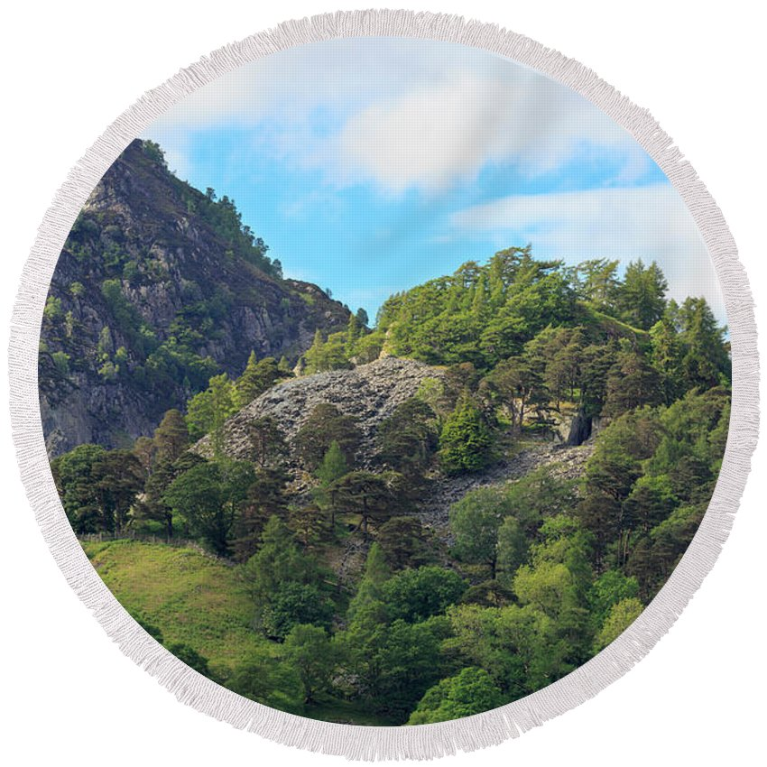 Castle Crag Round Beach Towel featuring the photograph Castle Crag In Borrowdale by Louise Heusinkveld