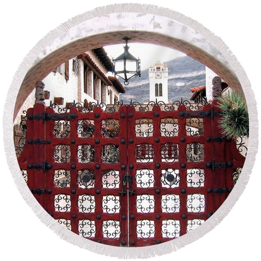 Castle Gate Round Beach Towel featuring the photograph Castle Gate by Will Borden