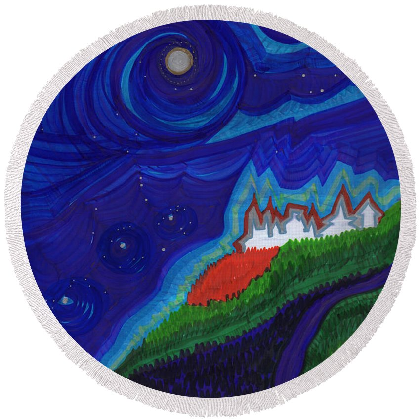 First Star Art Round Beach Towel featuring the drawing Castle On The Cliff By Jrr by First Star Art