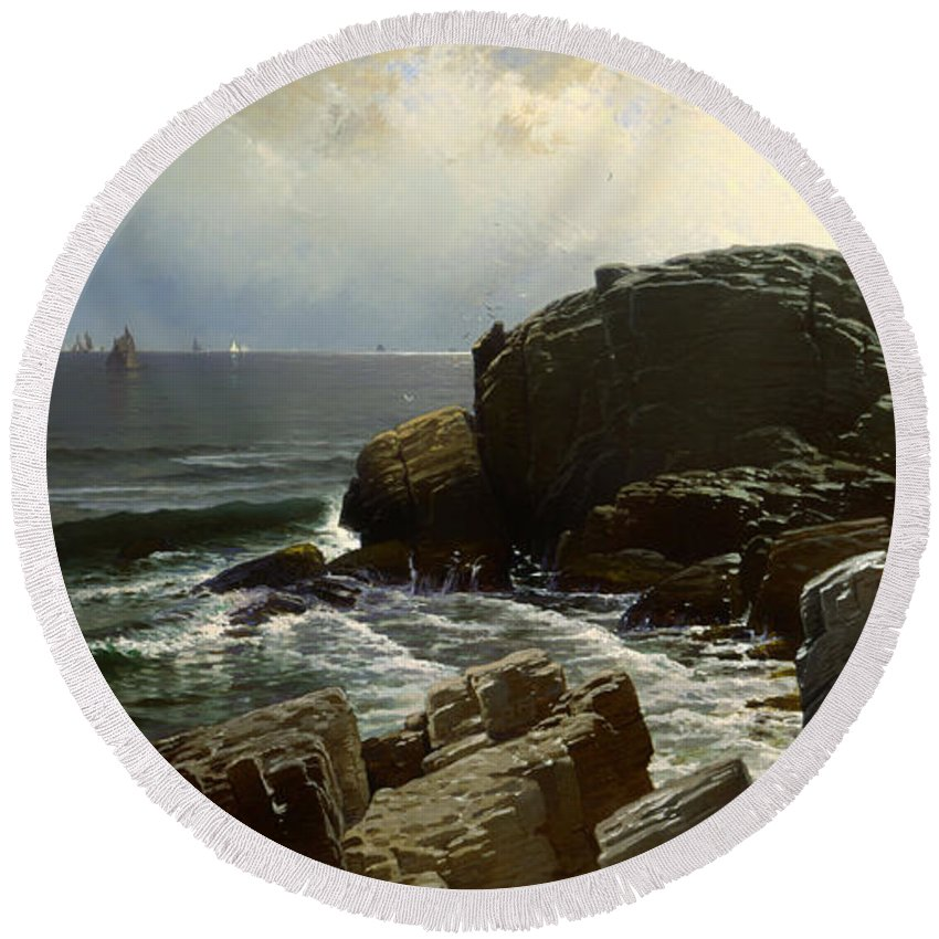 Painting Round Beach Towel featuring the painting Castle Rock At Marblehead by Mountain Dreams