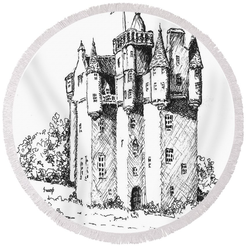 Castle Round Beach Towel featuring the drawing Castle by Sam Sidders