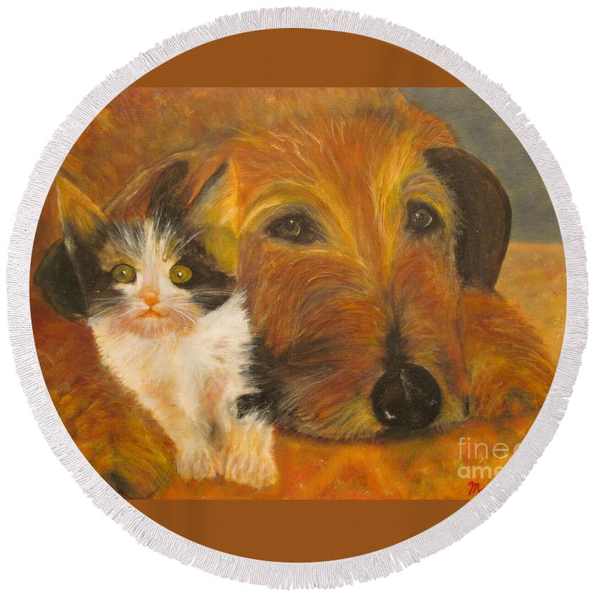 Cat Round Beach Towel featuring the painting Cat And Dog Original Oil Painting by Anthony Morretta