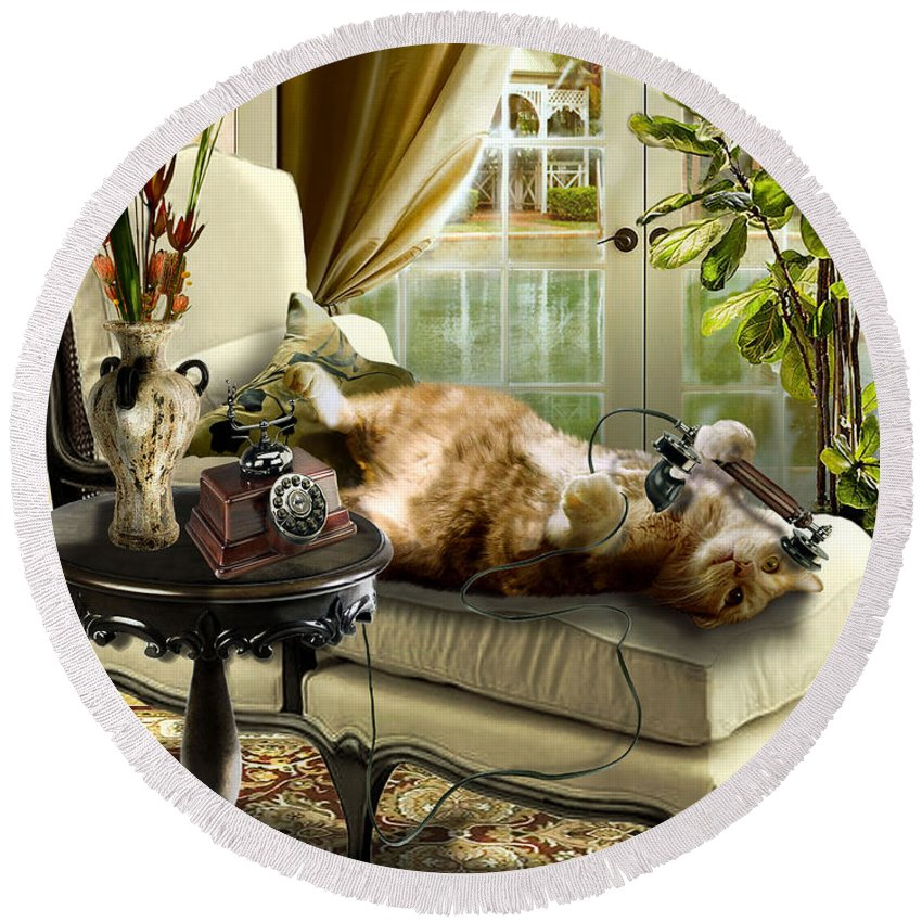 Pet Cat Painting Round Beach Towel featuring the painting Funny Pet Talking On The Phone by Regina Femrite