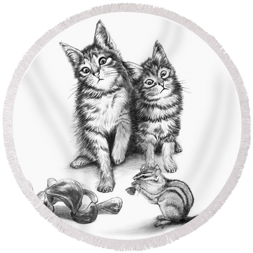 Cat Chips Round Beach Towel featuring the drawing Cat Chips by Peter Piatt