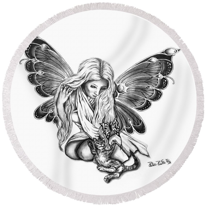 Cat Fairy Round Beach Towel featuring the drawing Cat Fairy by Peter Piatt