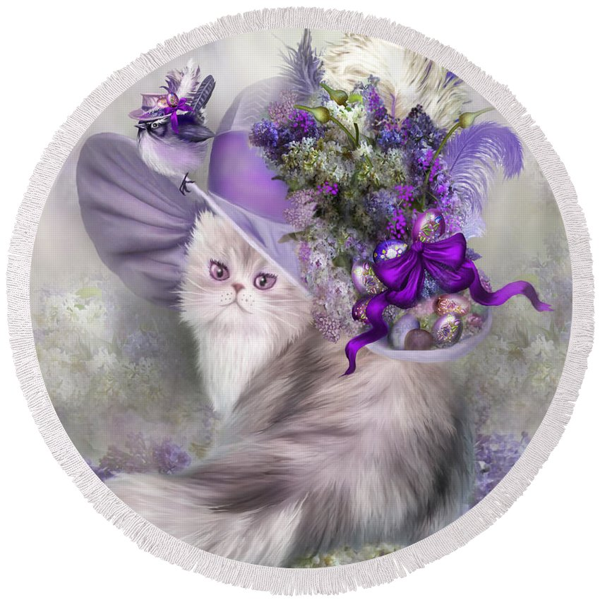 Cat Round Beach Towel featuring the mixed media Cat In Easter Lilac Hat by Carol Cavalaris