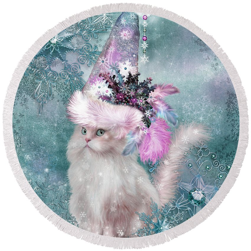 Cat Round Beach Towel featuring the mixed media Cat In Snowflake Hat by Carol Cavalaris