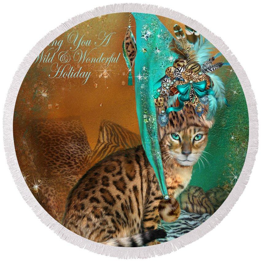 Cat Round Beach Towel featuring the mixed media Cat In The Leopard Trim Santa Hat by Carol Cavalaris