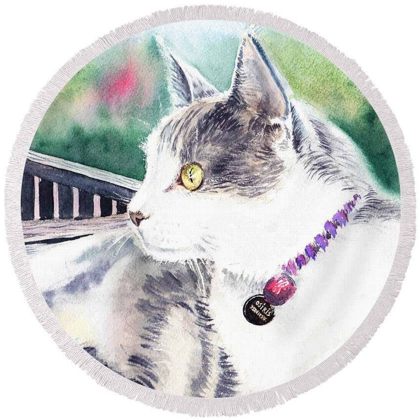 Cat Round Beach Towel featuring the painting Cat by Irina Sztukowski