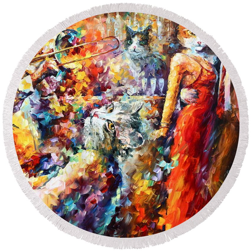 Cat Round Beach Towel featuring the painting Cat Jazz Club by Leonid Afremov