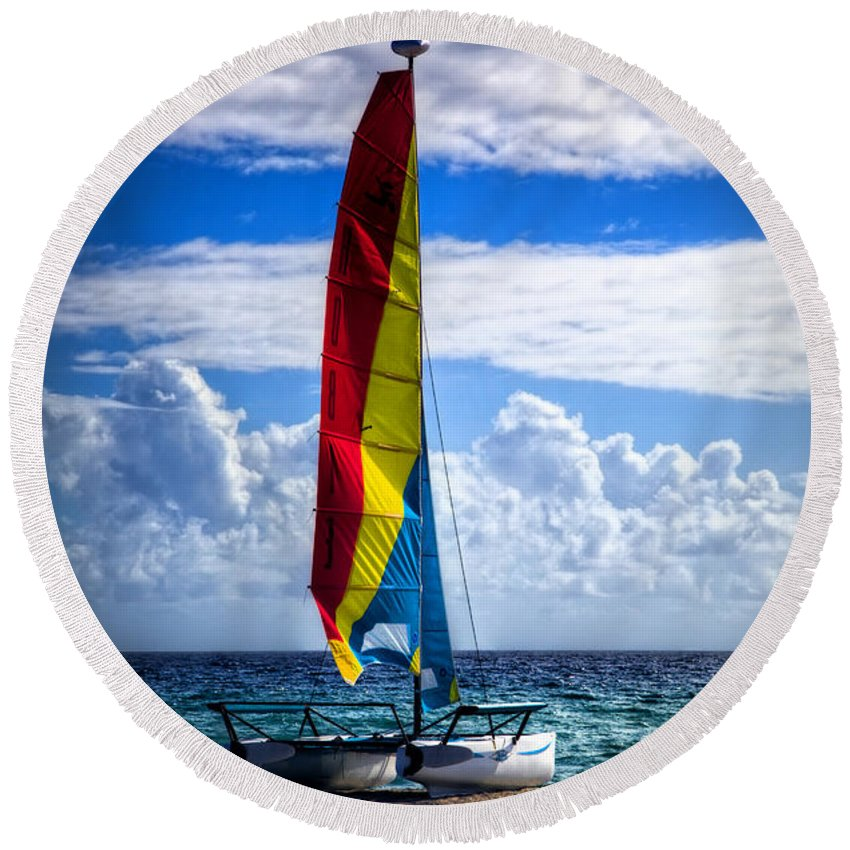 Boats Round Beach Towel featuring the photograph Catamaran At The Beach by Debra and Dave Vanderlaan