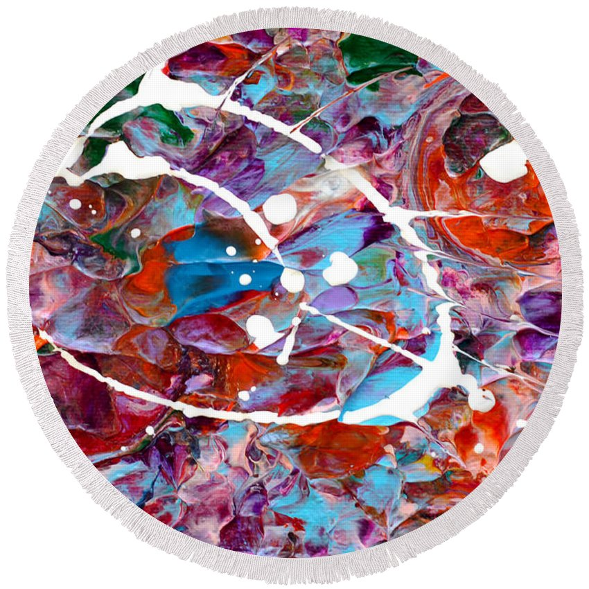 Bold Abstract Round Beach Towel featuring the painting Catastrophic by Donna Blackhall