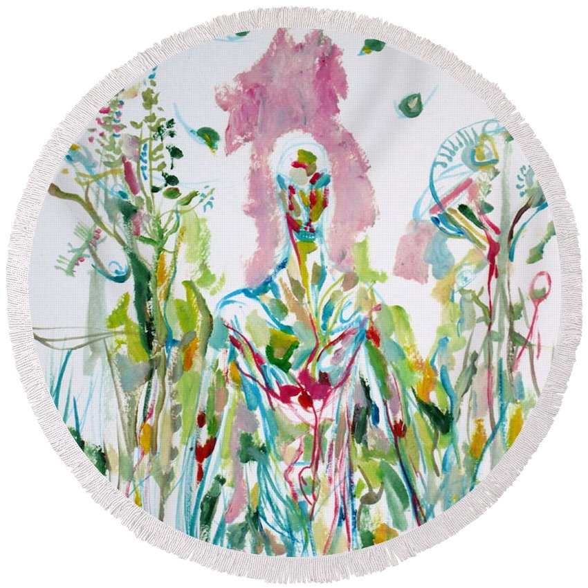 Man Round Beach Towel featuring the painting Catch Me - Lover And Follower-my Hearts Are Burning by Fabrizio Cassetta