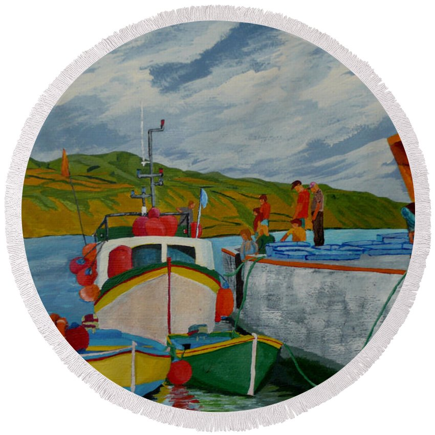 Boats Round Beach Towel featuring the painting Catch Of The Day by Anthony Dunphy