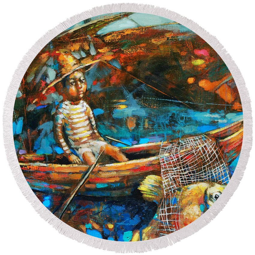 Catching A Gold Fish Round Beach Towel featuring the painting Catching A Goldfish by Michal Kwarciak