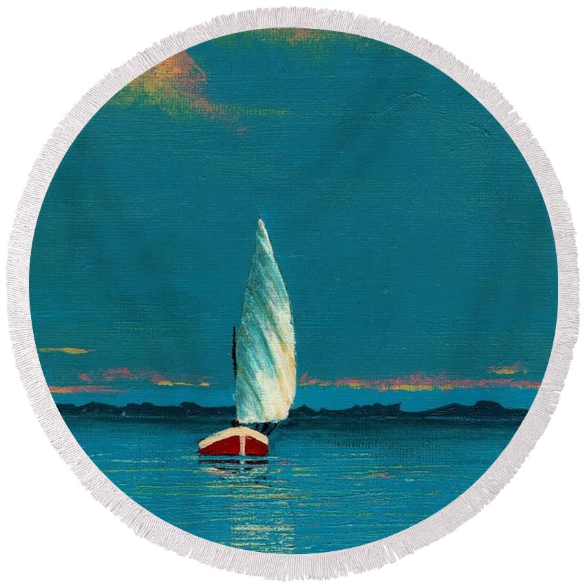 Landscape Painting Round Beach Towel featuring the painting Catching The Breeze by Edith Peterson