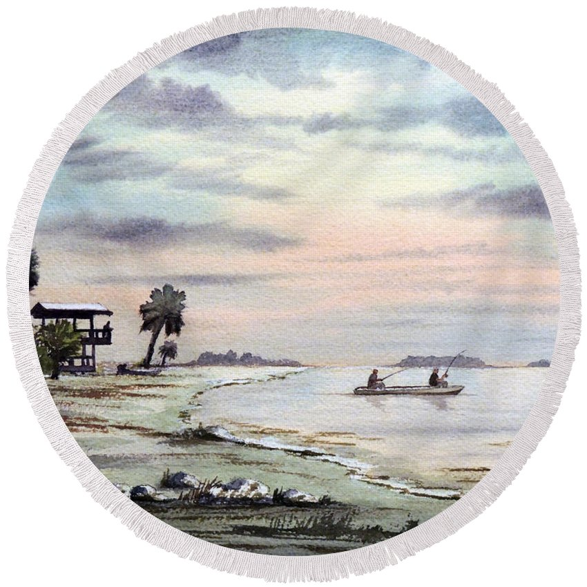 Florida Paintings Round Beach Towel featuring the painting Catching The Sunrise - Hagens Cove by Bill Holkham