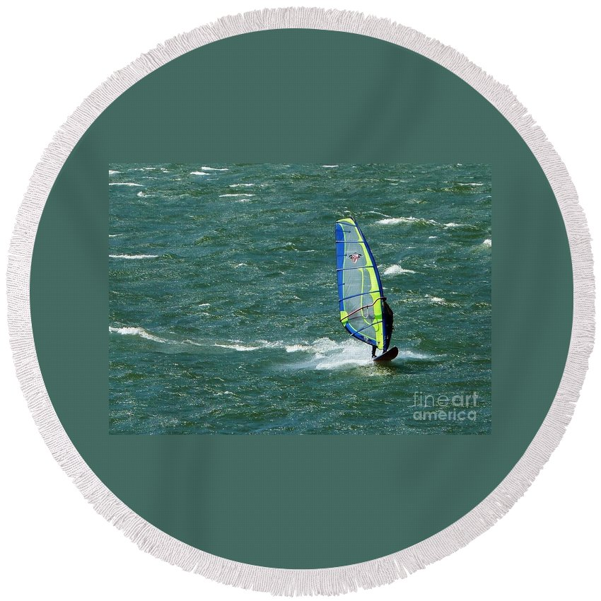 Wind Surfing Round Beach Towel featuring the photograph Catching Wind And Surf by Susan Garren