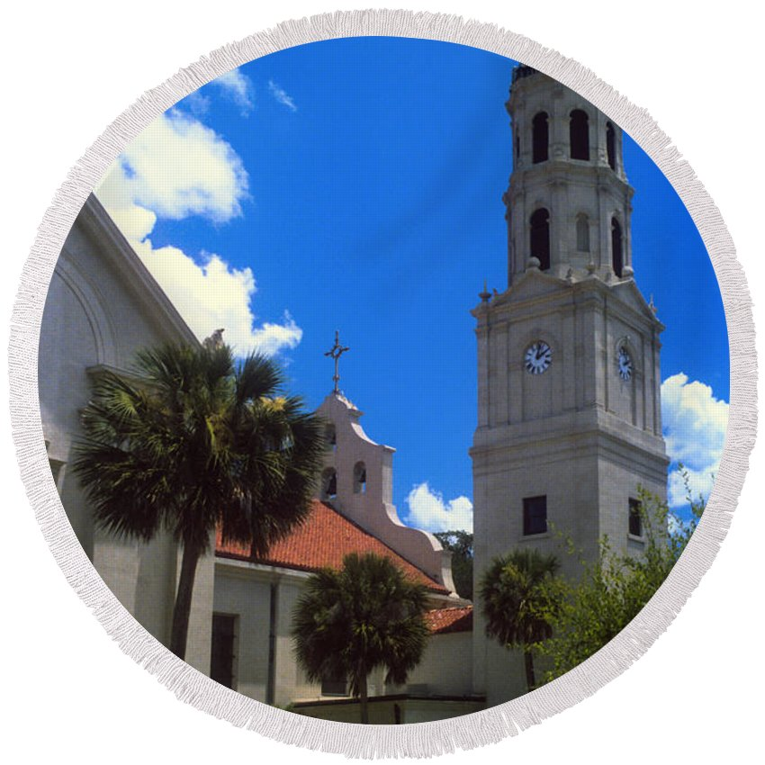 Cathedral Basilica St. Saint Augustine Florida Cathedrals Church Churches Building Buildings Structure Structures Architecture City Cities Cityscape Cityscapes Bell Tower Towers Round Beach Towel featuring the photograph Cathedral Basilica by Bob Phillips