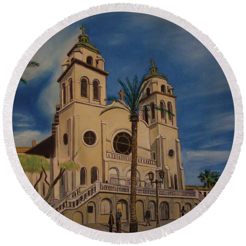Round Beach Towel featuring the painting Cathedral by Jude Darrien