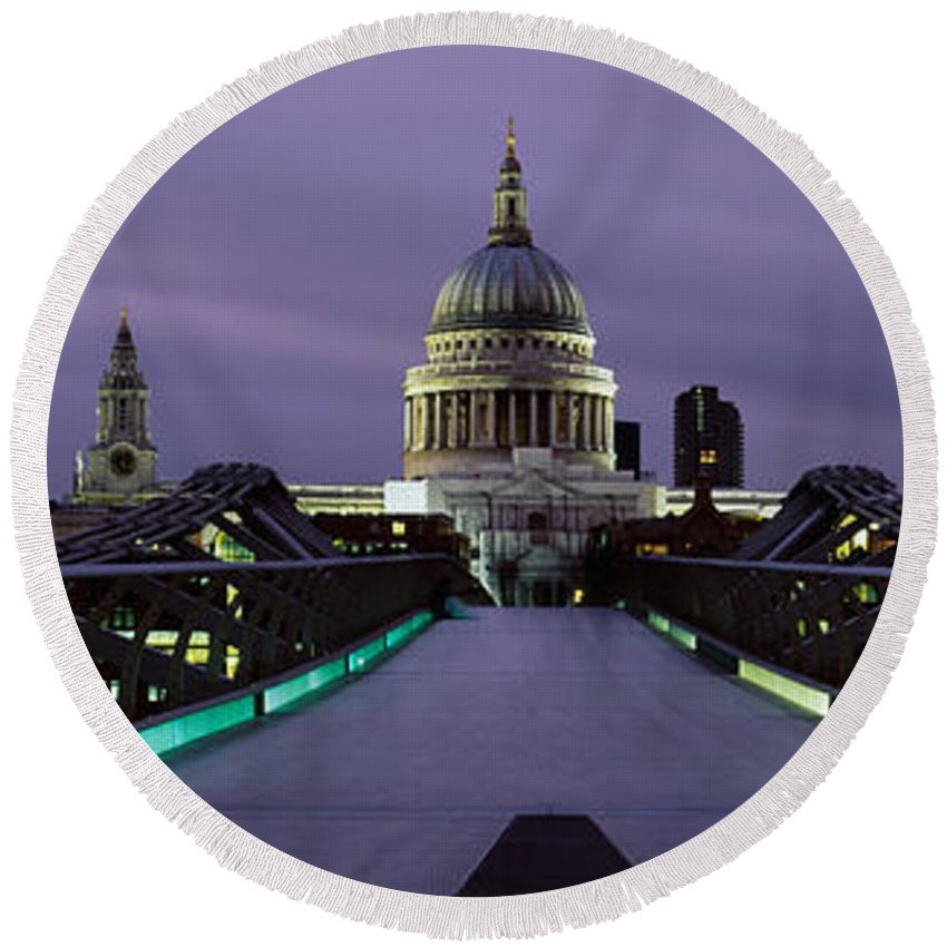 Photography Round Beach Towel featuring the photograph Cathedral Lit Up At Night, St. Pauls by Panoramic Images