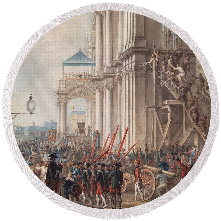 Catherine The Great Round Beach Towel featuring the photograph Catherine II On The Balcony Of The Winter Palace, Greeted By Guards And People On The Day by I.K Kaestner