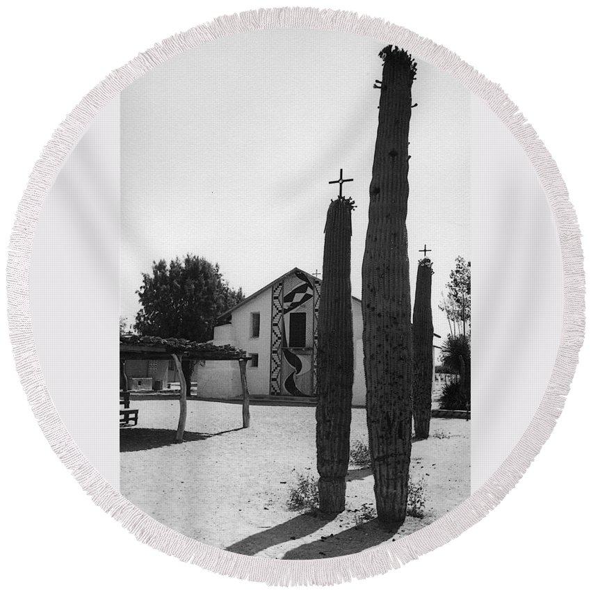 Catholic Church Pisinemo Arizona Tohono O'odham Indian Reservation 1973 Black And White Crosses Saguaro Cacti Round Beach Towel featuring the photograph Catholic Church Pisinemo Arizona Tohono O'odham Indian Reservation 1973 by David Lee Guss