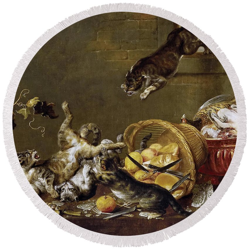 Paul De Vos Round Beach Towel featuring the painting Cats Fighting In A Larder by Paul de Vos