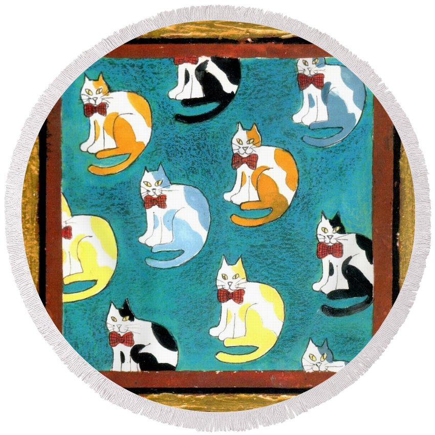 Cats Round Beach Towel featuring the painting Cats by Genevieve Esson