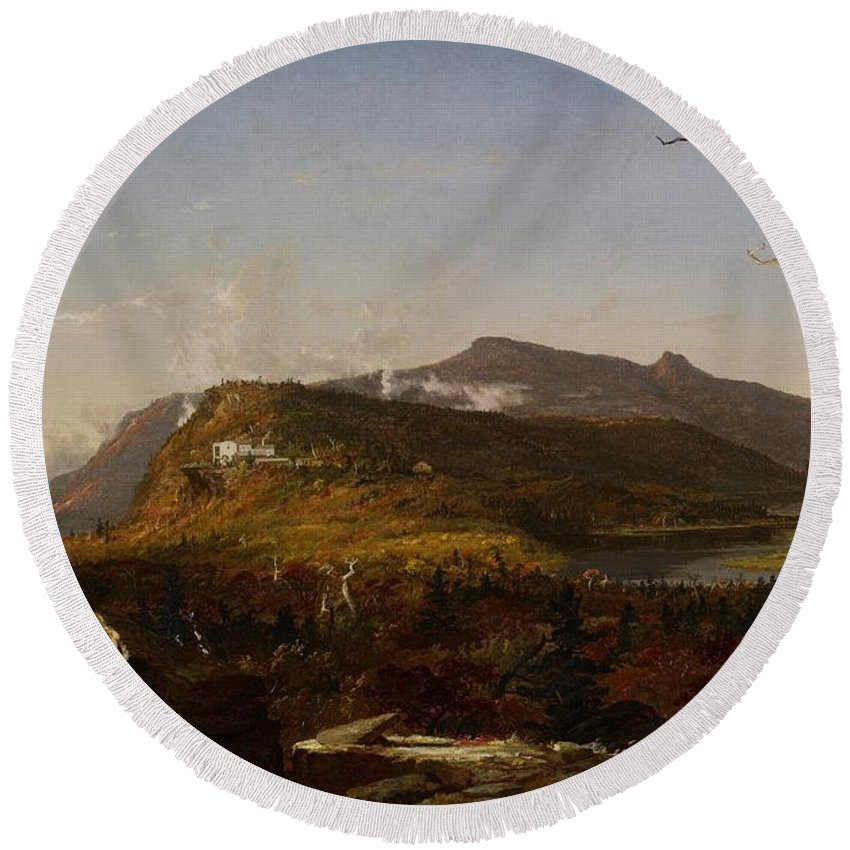 Hudson River School; Catskill Mountain House; South Mountain; New York State; Ny; America; American; Us; Usa; United States; Landscape; View; Vista; Rural; Countryside; Nature; Natural; Mountain; Mountains; Mountainous; Hilly; Hillside; Lake; Tree; Trees; Clouds; Architecture; Exterior; Hotel Round Beach Towel featuring the painting Catskill Mountain House by Jasper Francis Cropsey