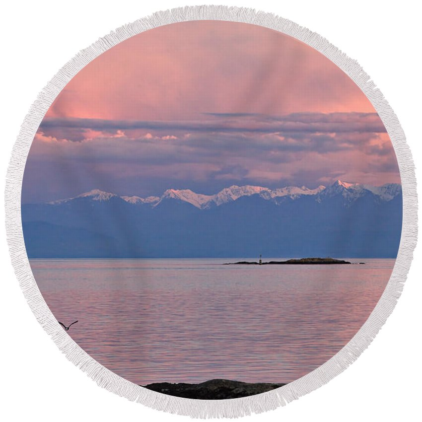 Travel Round Beach Towel featuring the photograph Cattle Point At Sunset On Vancouver Island British Columbia by Louise Heusinkveld