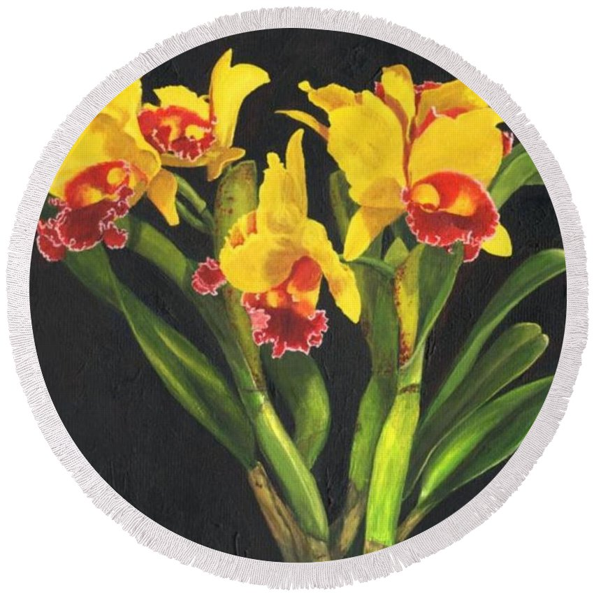 Flower Round Beach Towel featuring the painting Cattleya Orchid by Richard Harpum