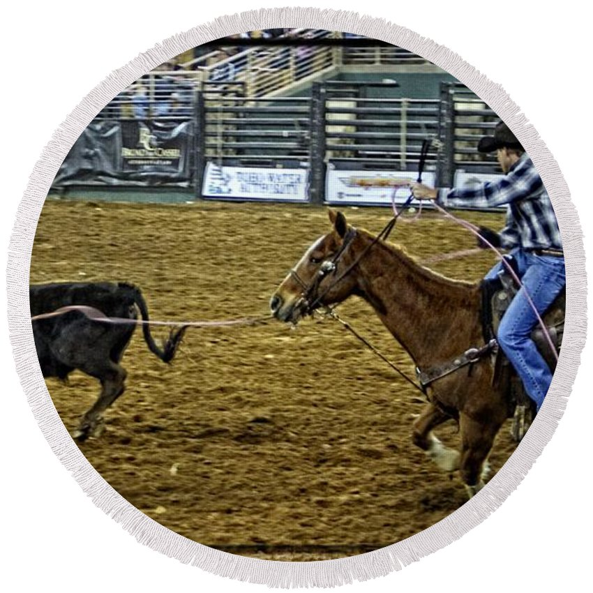 Calf Roping Round Beach Towel featuring the photograph Caught Calf by Alice Gipson