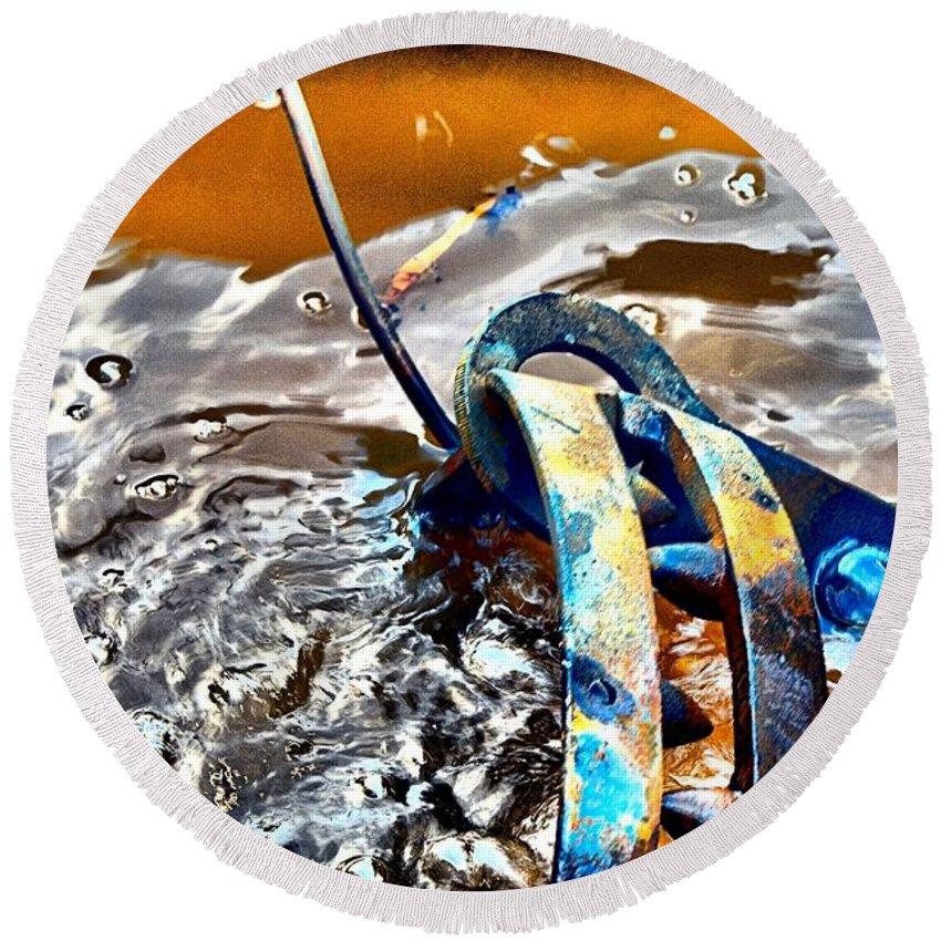 Abstract Round Beach Towel featuring the photograph Cauldren by Lauren Leigh Hunter Fine Art Photography