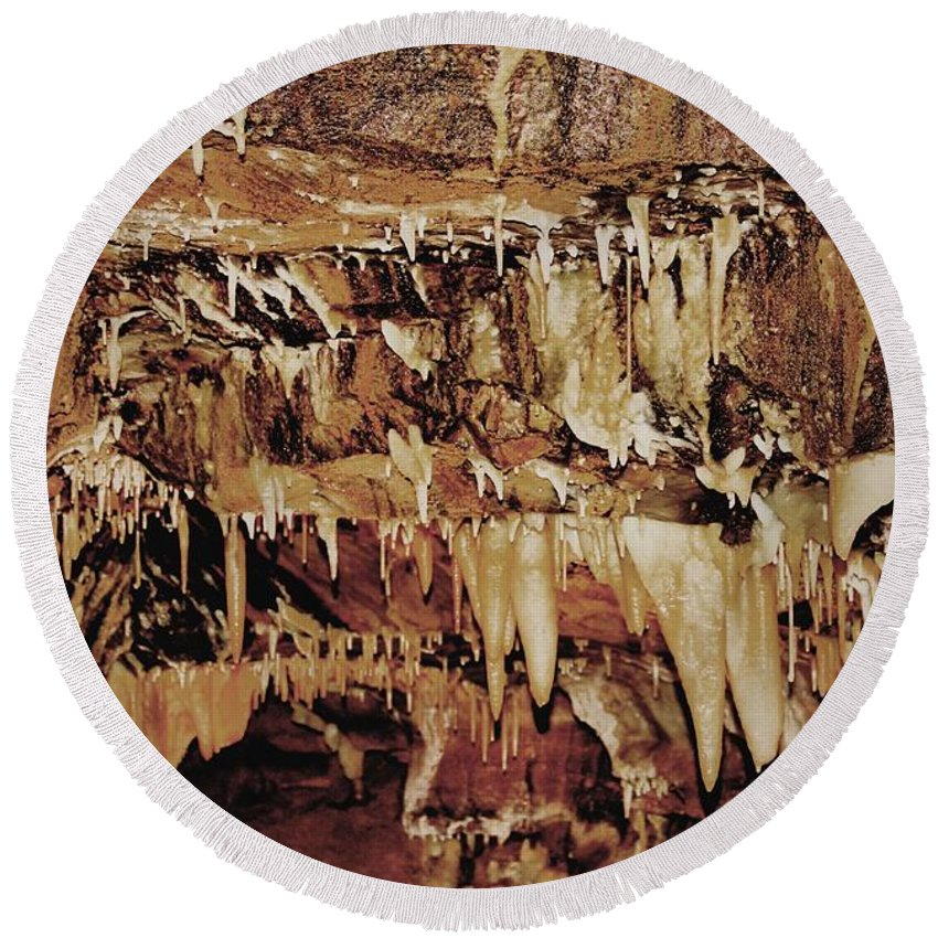 Caverns Round Beach Towel featuring the photograph Cavern Beauty by Dan Sproul