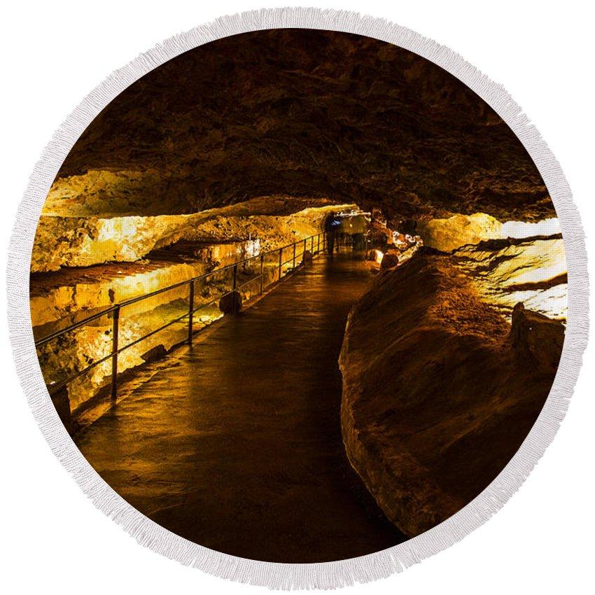 Meramec Caverns Round Beach Towel featuring the photograph Cavern Path 2 by Angus Hooper Iii