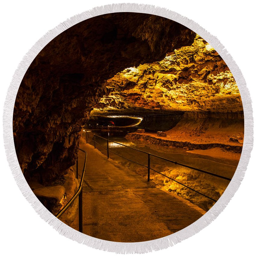 Meramec Caverns Round Beach Towel featuring the photograph Cavern River Path by Angus Hooper Iii