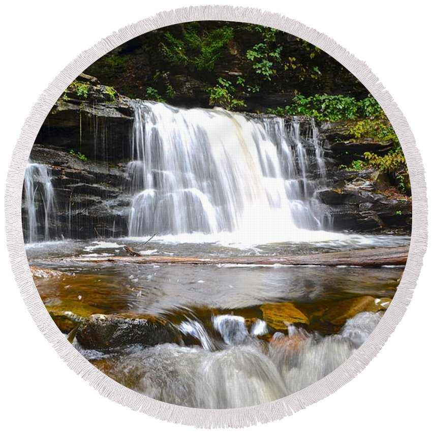 Cascade Round Beach Towel featuring the photograph Cayuga Falls by Frozen in Time Fine Art Photography