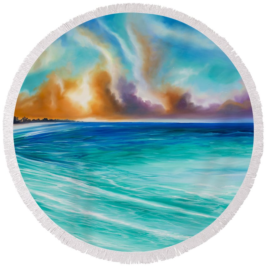 Sunrise Round Beach Towel featuring the painting Cazumel by James Christopher Hill