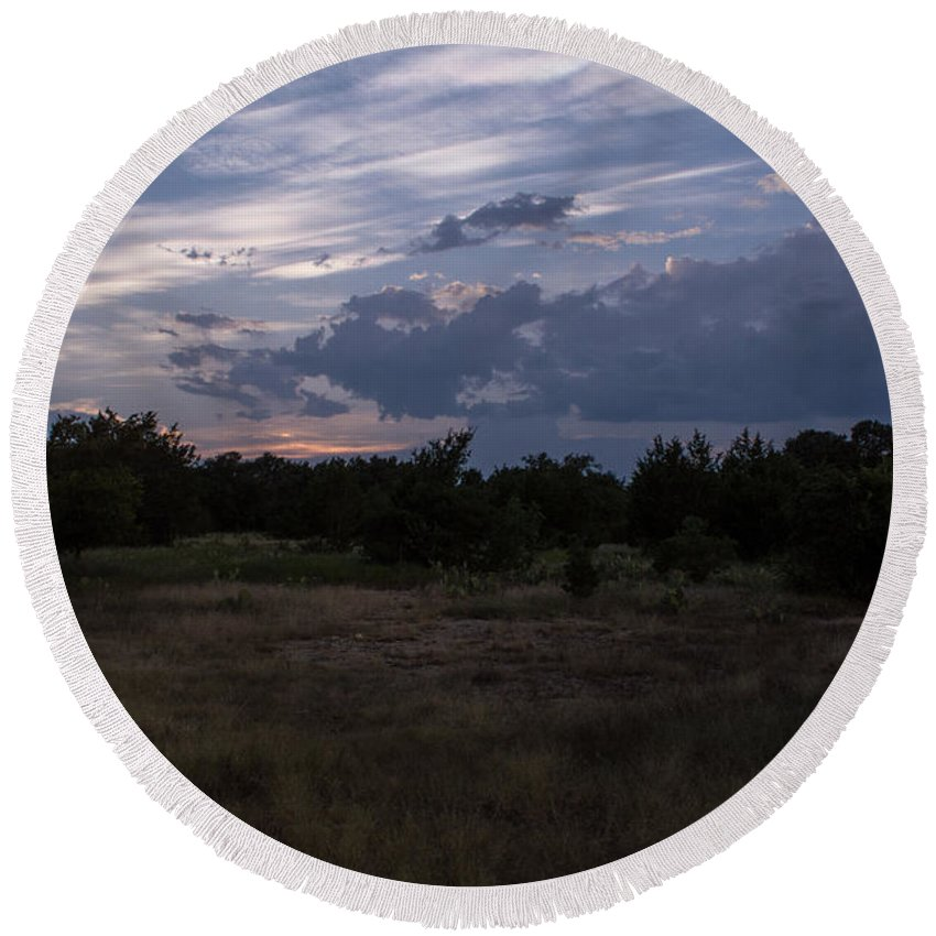 Texas Round Beach Towel featuring the photograph Cedar Park Texas Cedar And Clouds Sunset by JG Thompson