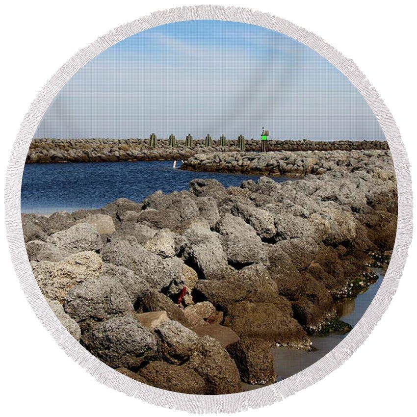 Cedar Island Round Beach Towel featuring the photograph Cedar Island Gateway by Rand Wall
