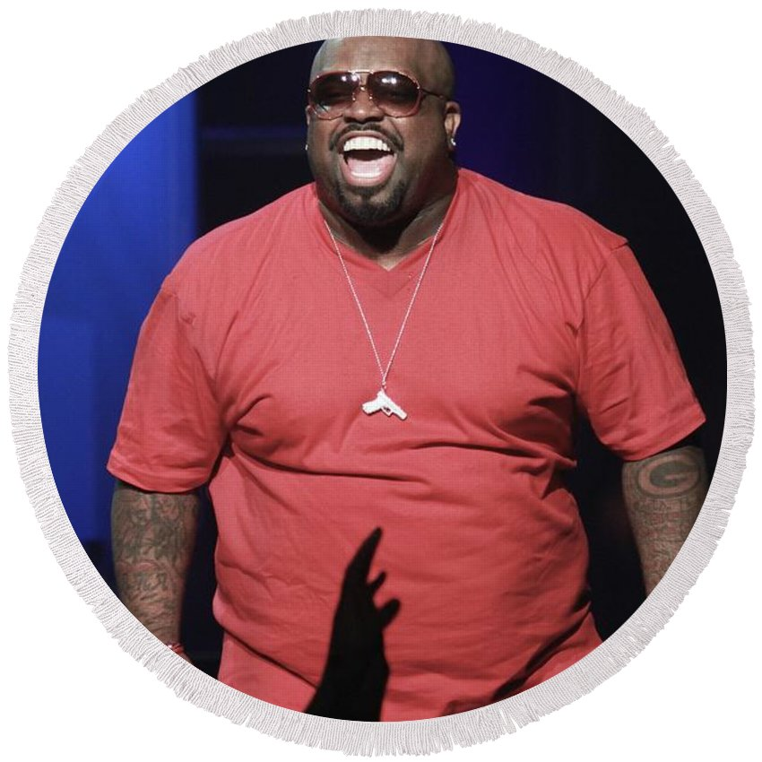 Performing Round Beach Towel featuring the photograph Cee Lo Green by Concert Photos