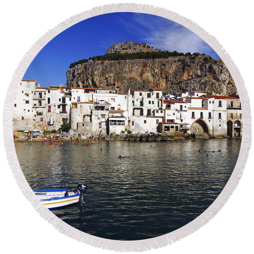 Sicily Round Beach Towel featuring the photograph Cefalu - Sicily by Stefano Senise