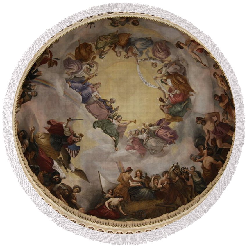 Cupola Round Beach Towel featuring the photograph Ceiling Fresco - Cupola Capitol Washington Dc by Christiane Schulze Art And Photography