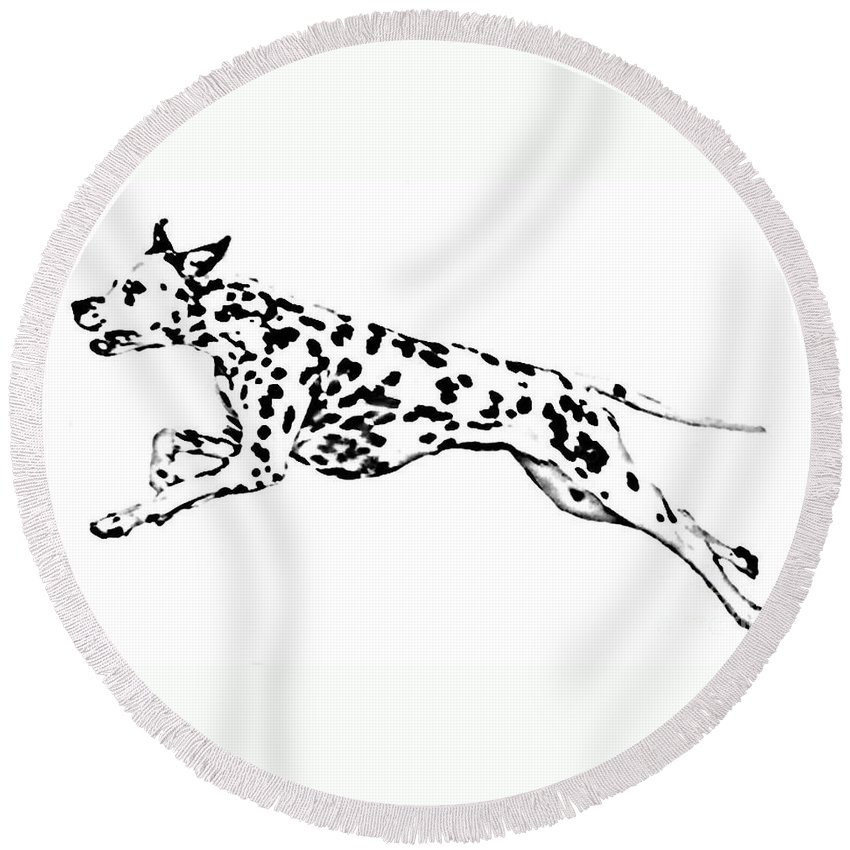 Dogs Round Beach Towel featuring the drawing Celebrate by Jacki McGovern