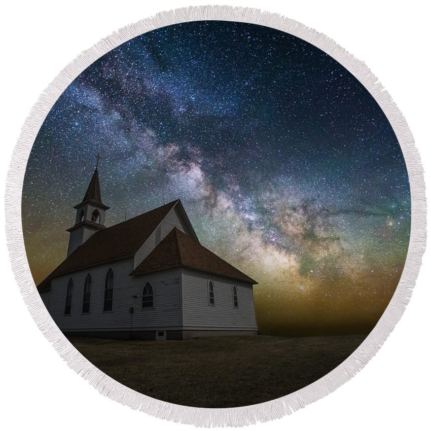 #heavenly Round Beach Towel featuring the photograph Celestial by Aaron J Groen